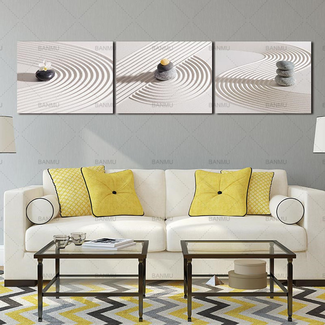 Canvas Wall Art Pictures Zen Spa Stone Prints On White Sand