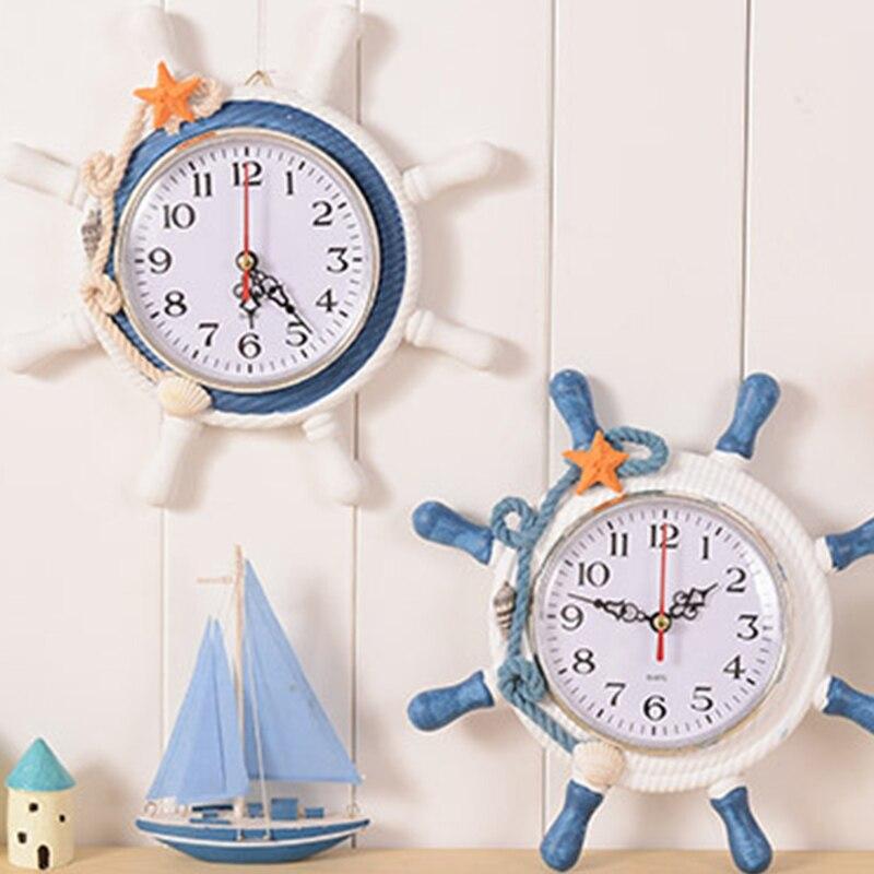 Casual Home Decoration Mediterranean Sea Sailing Wall Clock Watch Needle Single Face Ship 's Anchor Helmsman Reloj Salon