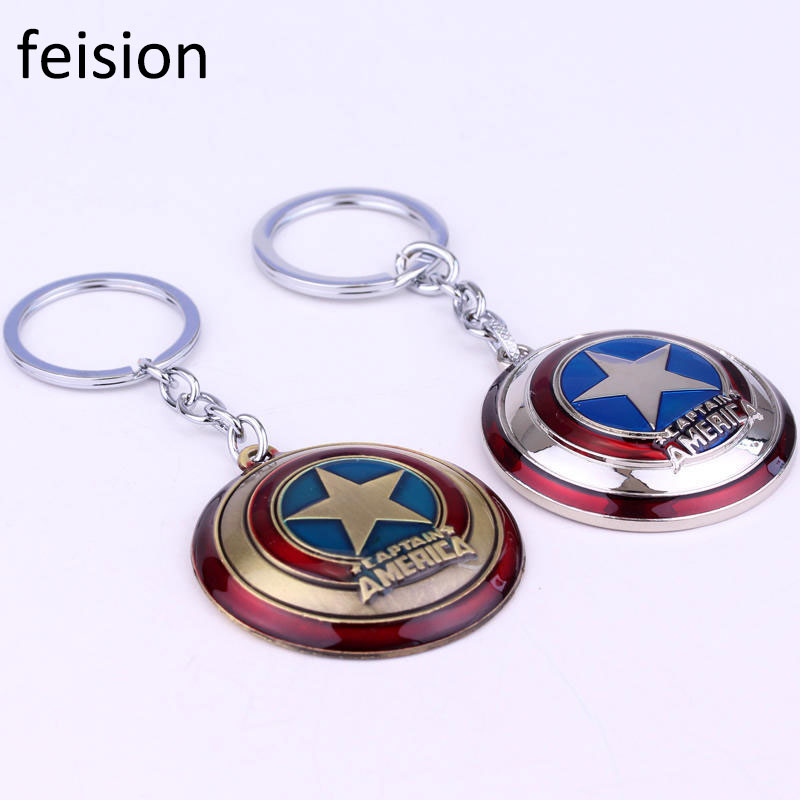 The Avengers Captain America rotatable keychain Shield Keyrings for gift keychain car keychain golf gtd car key chains for vw
