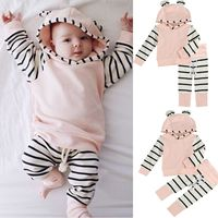 Infant Toddler Baby Kids Animal Ear Hooded Shirt Tops Striped Pants Set Cute