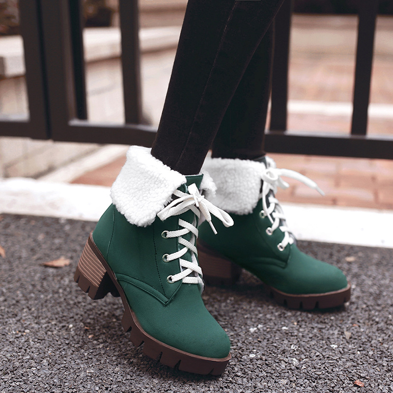 ФОТО Winter Lace-up Snow Boots High-Top Square Heel Winter Boots Shoes Woman XW-60