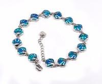 SZ0082 elegant flower shell chain blue opal bracelet silver chain bracelet and bracelet ladies fashion jewelry