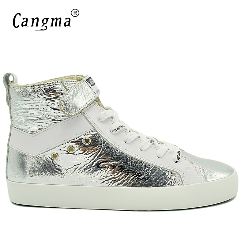 CANGMA Brand Sneakers Men Vintage Casual Shoes Mans Boots Handmade Shoes Patent Genuine Leather Ankle Boots Male Silver Footwear cangma superstar italian luxury brand shoes for woman genuine leather women casual orange silver classic shoes schoenen vrouwen