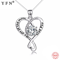 4d73177f46ed YFN Genuine 925 Sterling Silver Cross Love Heart Crystal Pendant I Love You  To The Moon