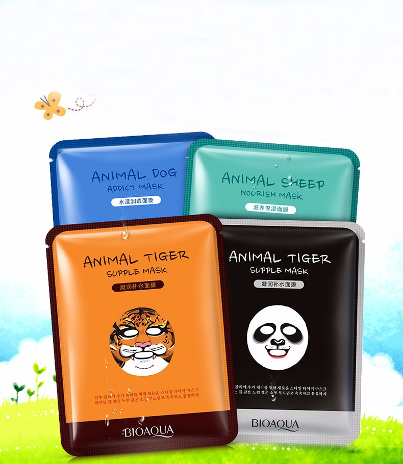 Radient Bioaqua Skin Care Sheep/panda/dog/tiger Four Types Optional Facial Mask Moisturizing Oil Control Cute Animal Face Masks Fragrant Flavor In
