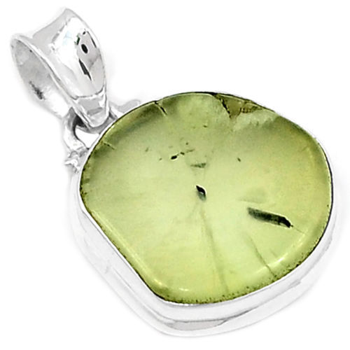 Hand make Genuine Prehnite Pendant 100% 925 Sterling Silver Jewellery AP0458 32mm 5.4g
