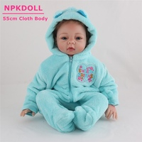 NPKDOLL 55CM Silicone Reborn Baby Dolls Real Alive Bebe Reborn Boneca With Soft Doll Clothes Toys For Babies Xmas Gift Brinquedo