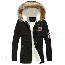 Новые 2017 зимние пары теплый добавить шерсть с капюшоном хлопка мягкой одежда пальто/мужчины меховой воротник длинный пуховик пальто