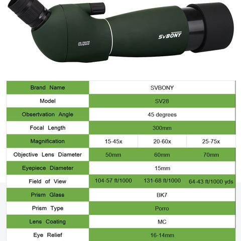 Svbony SV28 50/60/70mm Telescope Zoom Spotting Scope Waterproof Monocular w/ Universal Phone Adapter Mount for Hunting F9308 Karachi
