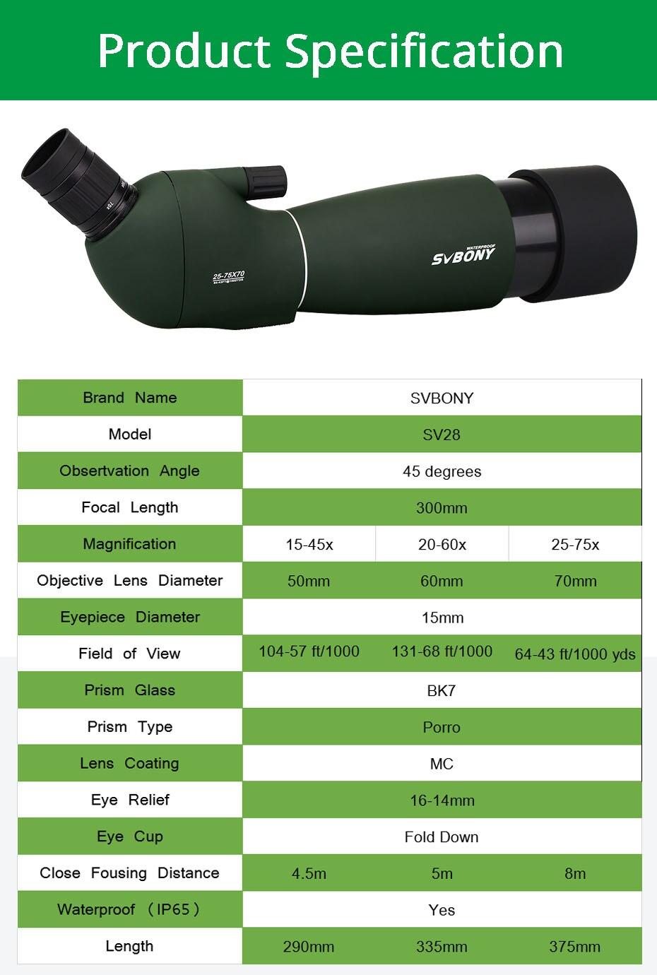 Svbony SV28 50/60/70mm longue-vue Zoom télescope étanche montre à oiseaux chasse monoculaire et universel adaptateur de téléphone optique pour la chasse, le tir, le tir à l'arc, l'observation des oiseaux - 3