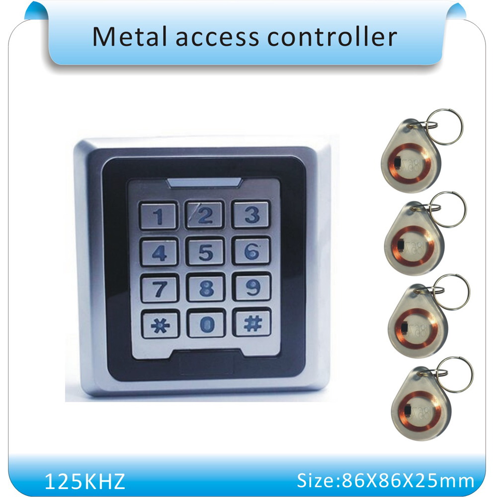 Free shipping 86X86mm metal keyboard  rfid lock system 125KHZ door RFID Door Access Control+10 crystal keyfob metal shell touch keyboard 125khz rfid access control system entrance guard password and rfid 10pcs crystal keyfob