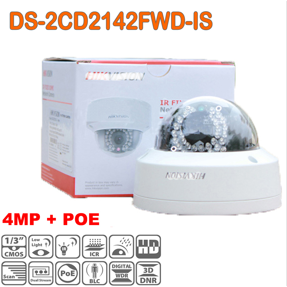 Hikvision 4MP IP CCTV Camera Outdoor DS-2CD2142FWD-IS H.265 With TF Card audio alarm I/O Mini Dome Camera