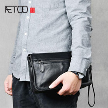 AETOO Men's hand bag top layer leather clip bag leather enve