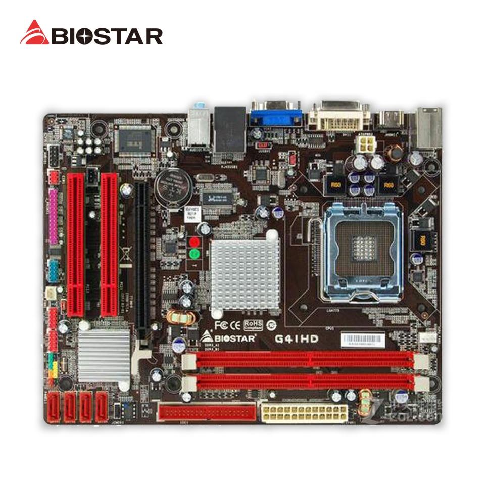 BIOSTAR G41HD 6.x Original Used Desktop Motherboard Intel G41 LGA 775 DDR3 4G SATA2 USB2.0 Micro ATX intel g31 micro atx lga 775 ddr2 computer motherboard blue silver