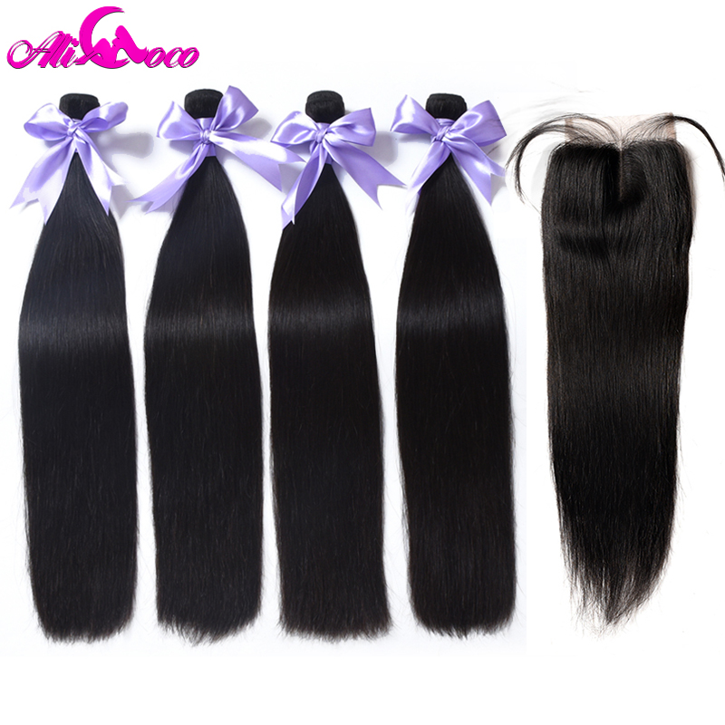 Ali Coco бразильские прямые волосы 4 пучки с закрытием 100% натуральные волосы пучки с закрытием 4*4 Кружева закрытия не-наращивание волос