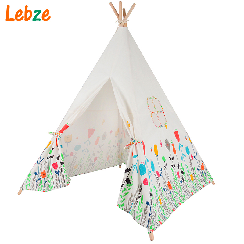 Lovely Cartoon Kids Teepee Four Poles Children Play Tent Cotton Canvas Baby Tipi Tent Flowers Printed Play House for Baby Room red chevron canvas dog tent house pet teepee tipi dog tee pee cat teepee