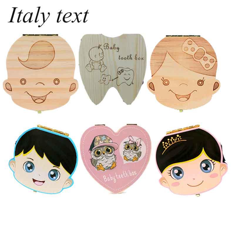 Italien/Englisch Baby Holz Zahn Box Organizer Milch Zähne Lagerung Sammeln Zähne Umbilica für Jungen Mädchen Sparen Andenken Souvenir