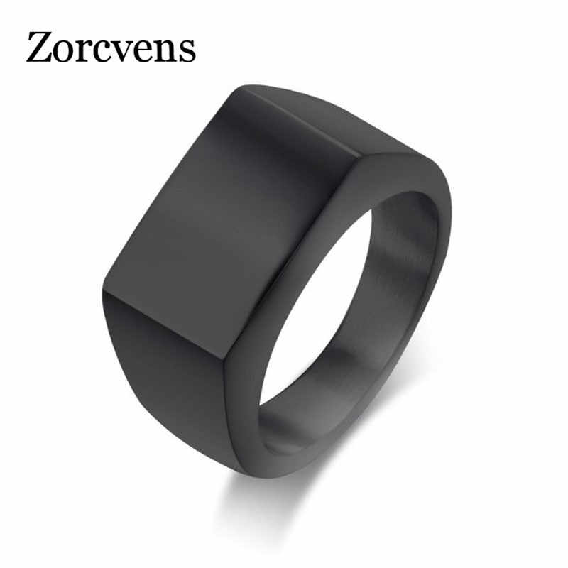 Zorcvens Punk Pria Cincin Square Big Lebar Signet Rings Fashion Hitam Cincin Stainless Steel Perhiasan