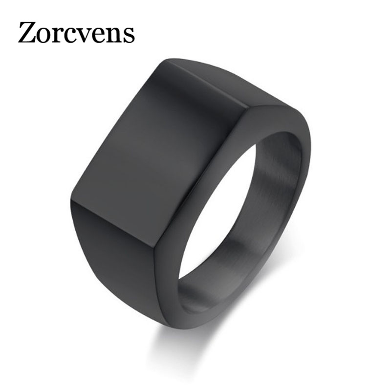 ZORCVENS Punk Men Ring Square Big Width Signet Rings Fashion Male Black Finger Ring Stainless Steel Jewelry(China)