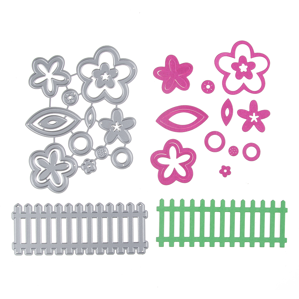 Flower And Fence Diy Cutting Dies Stencil Scrapbook Album Art Paper