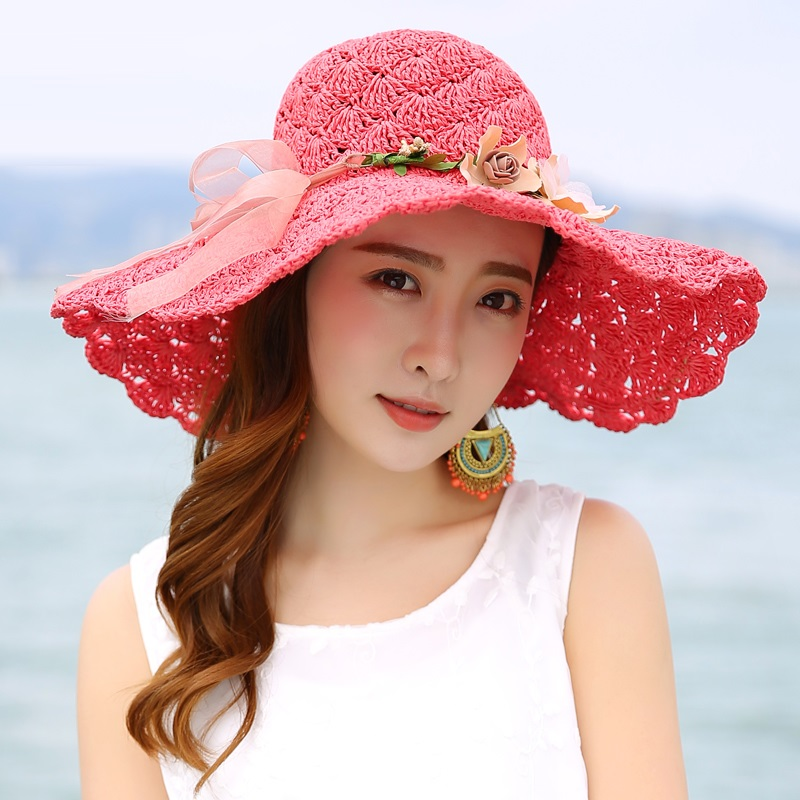 2018 New Summer Sun Hat Wide Brim Beach Sun Cap Women Sun Straw Hat - Kledingaccessoires