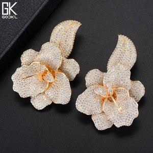 Image 5 - GODKI 66mm Trendy Luxury Rose Flower Nigerian Long Dangle Earrings For Women Wedding Zirconia CZ Dubai Dubai Silver Earrings