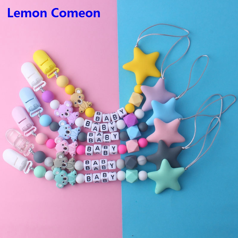 Lemon Comeon Personalized Silicone Pacifier Clip Holder Chain Can Be Customized Name Food Grade Raccoon Silicone Beads Hand Made