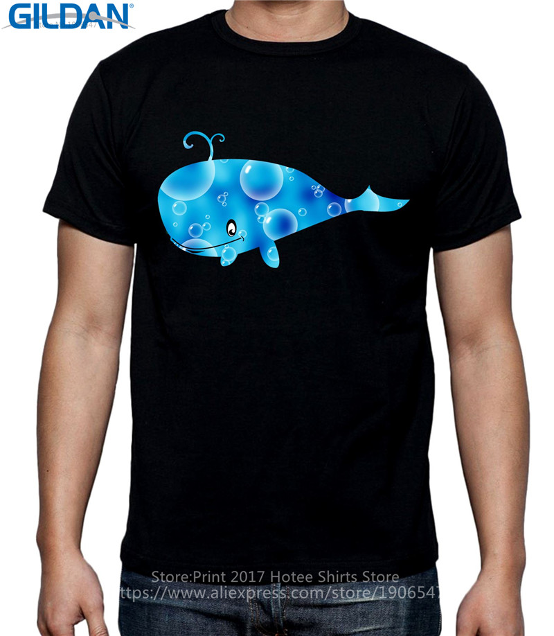 Printed T Shirt Pure Cotton Crew Neck Short Sleeve Office Cartoon Whale Tee For Men in T Shirts from Men 39 s Clothing