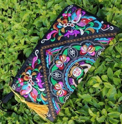 Vintage Embroidery Women Clutch Bag Retro National Trend Bag Women Wallet Double Faced Embroidered Coin Purse Clutch Handbag national trend women handmade faced flower embroidered canvas embroidery ethnic bags handbag wml99