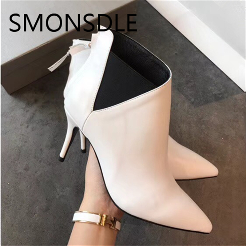 SMONSDLE New Black Genuine Leather Back Zip Women Ankle Boots Sexy Pointed Toe Thin High Heels Autumn Winter Boots Shoes Woman aloeent black ankle boots women high heels pointed toe sexy winter boots woman shoes winter women boots with fur inside