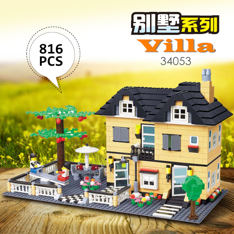 Wange blocks garden city Luxury Villa series Model Town House Building Block Kids Educational Bricks toys for Children 34053 wange building blocks toys for children gifts architectures series 978pcs bricks diy educational no 8015
