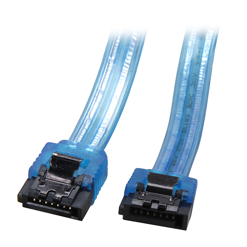 18 Inches 6Gb/s SATA3 Serial ATA DATA cable with latch for PC computer SATA 3.0 SATAIII 6Gbps HDD Hard Drive Disk/ SSD,UV Blue 2pcs high quality hdd ssd sata3 0 iii 6gb 50cm straight cables right angle cable serial ata hard disk data line soft beautiful