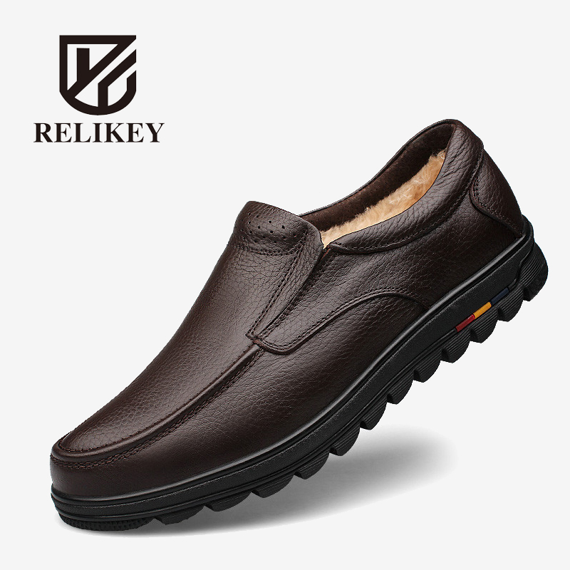 RELIKEY Brand New Arrival Big Size High Quality Genuine Leather Handmade Men Shoes With Fur ,Casual Warm Work Ankle Boots Soft. relikey brand men casual handmade shoes cow suede male oxfords spring high quality genuine leather flats classics dress shoes