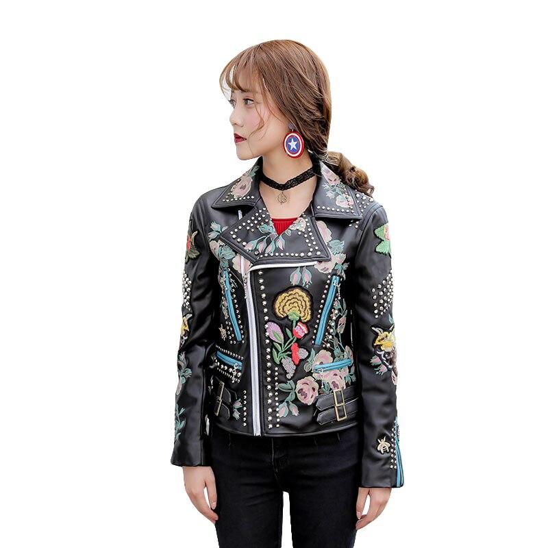2019 Spring Biker Jacket Women Fashion Embroidery Rivet Faux Leather Motorcycle PU Coats Slim Short Women's Leather Jacket
