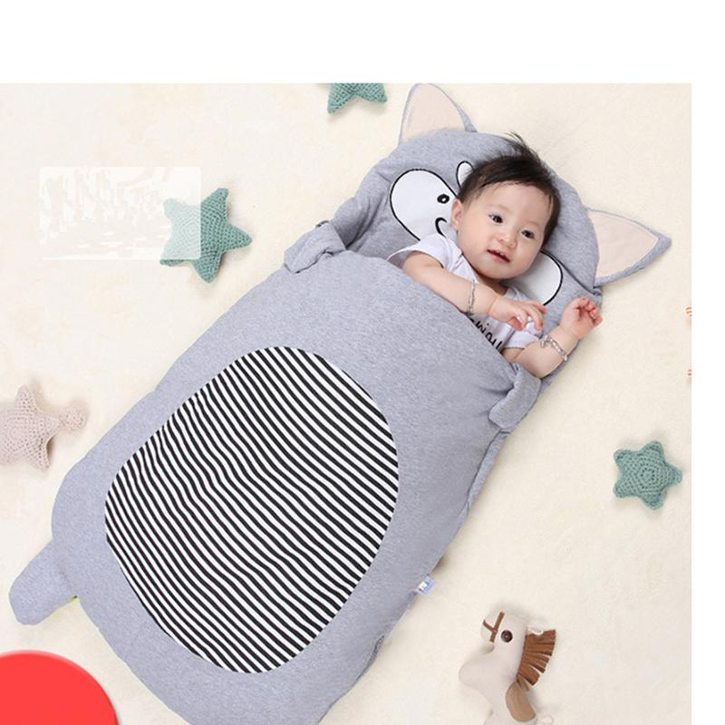 Baby Infant Cartoon Grey fox Sleeping Bag Winter Envelope For Newborns Sleep Thermal Sack Cotton Kids Sleep Sack baby sleeping bag winter envelope for baby newborns sleep thermal sack cotton kids sleep sack stroller sleeping bag windproof