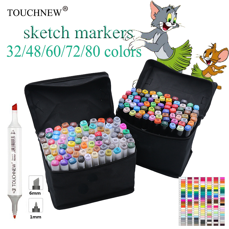 TOUCHNEW 30-80 Colors Dual Headed Marker Set Animation Manga Design brush pen School Drawing Sketch Marker Pen Art Supplies touchnew 60 colors artist dual head sketch markers for manga marker school drawing marker pen design supplies 5type