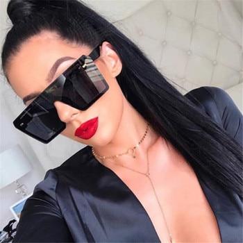 Oversized Square Sunglasses Women 2019 Luxury Brand Fashion Flat Top Red Black Clear Lens One Piece Men Gafas Shade Mirror UV400 4