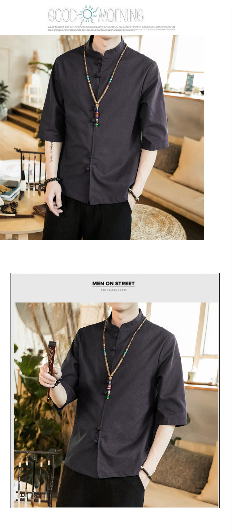 Chinese style summer fashion man's Pure color linen Short sleeve shirt high-grade male comfortable slim fit leisure shirt M-5XL 55