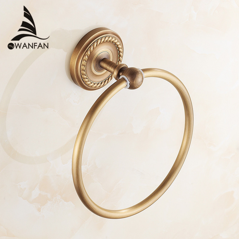 Towel Rings Antique Brass Wall Mounted Rack Towel Holder Bath Shelf Towel Hangers Storage Bathroom Accessories Towel Bar HJ-1307 fashionable design bathroom towel shelf antique brass shelf storage holder wall mounted