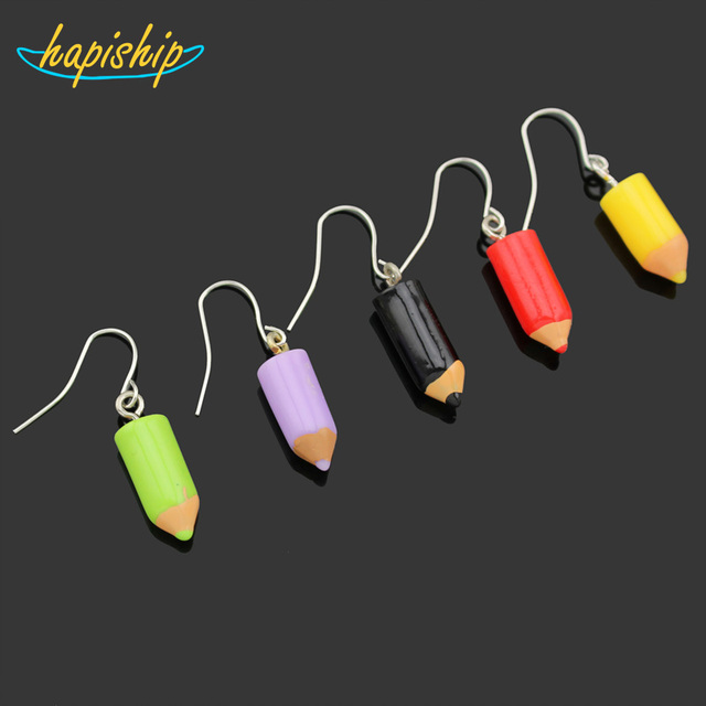 Hapiship 2018 New Women's Fashion Handmade Resin Pencil Dangle Earring Personali