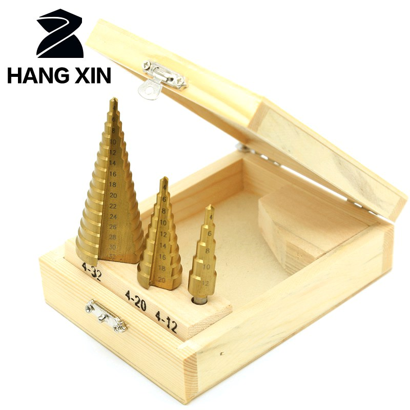 3PCS HSS steel titanium step drill bit 3-12mm 4-12mm 4-32mm high speed steel power tool stepping drill bit for wood step drill jigong 3pcs set titanium step drill bits hss power tools high speed steel hole cutter wood metal drilling 3 12mm 4 12mm 4 20mm