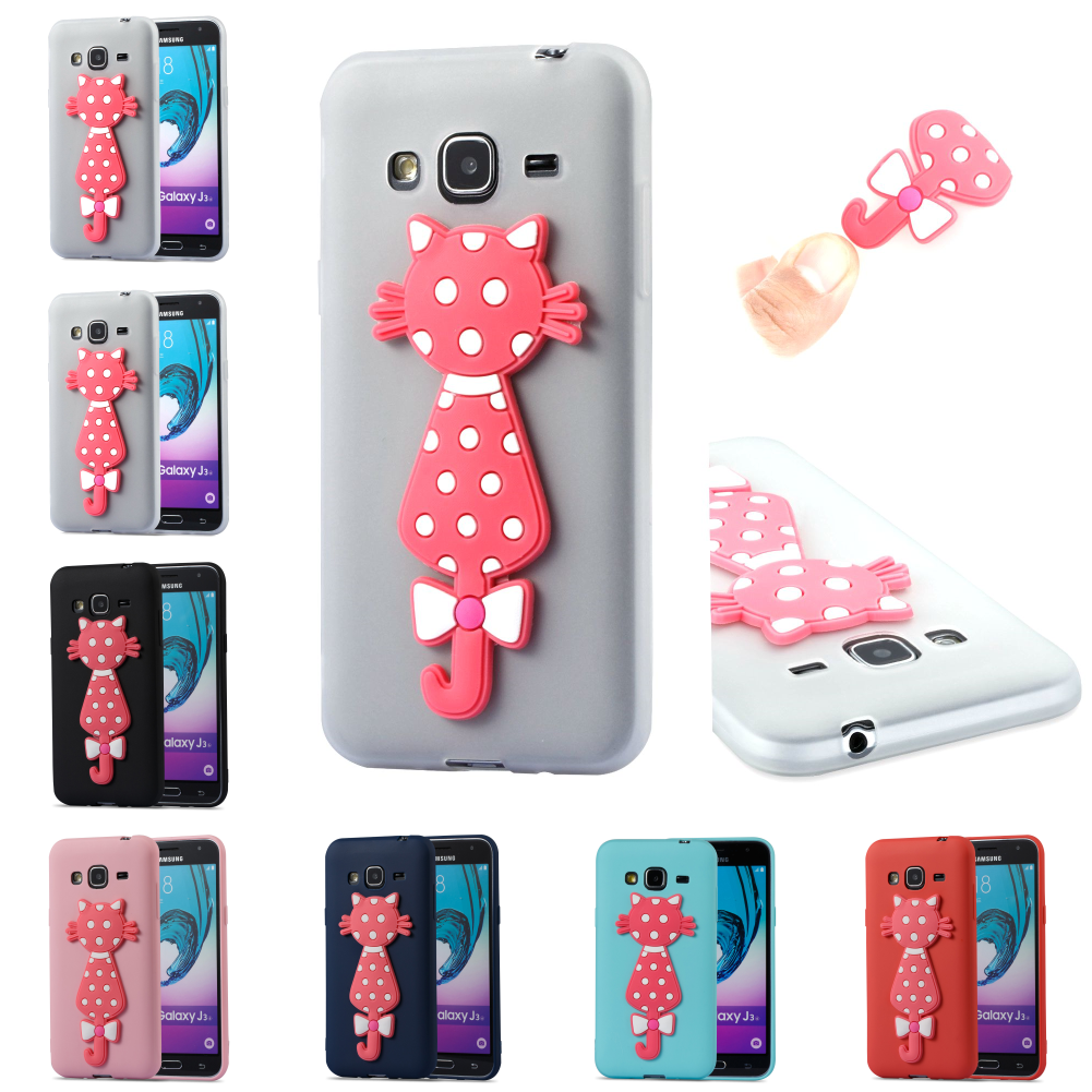 For Sumsung Samsung Samsug Galax J3 2016 j 310 Silicone 3D Cat TPU Cute Cartoon Kryty Shell Cover Bag Phone Case