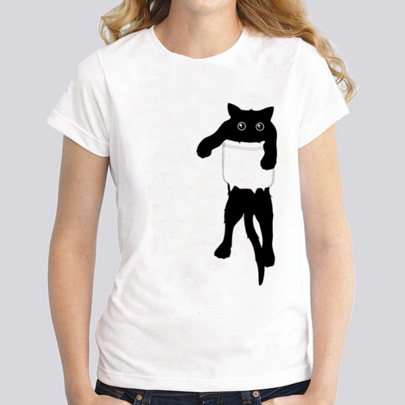 Women T-Shirt Loose Cat Print Short Sleeve Lady Top Tees Women Tshirt Hipster Polyester Valentine Tops T Shirt