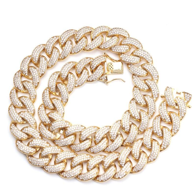 Top qualité luxe Miami lien cubain chaîne pavé réglage glacé zircon cubique 18mm CZ collier hommes bijoux