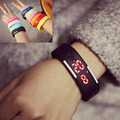 1 шт. Цифровые Наручные Часы женщины мужчины часы Корея стиль моды Harajuku конфеты цвет спорт желе СВЕТОДИОДНЫЙ Сенсорный часы браслет подарок H4