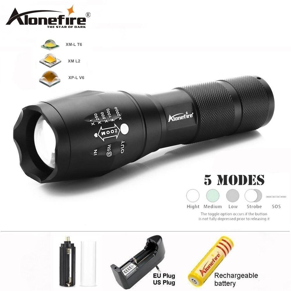 AloneFire E17 Zoomable lantern CREE XML T6 L2 powerful <font><b>Led</b></font> Flashlight 5000Lumens Waterproof Tactical Torch <font><b>Zaklamp</b></font> for AAA 18650