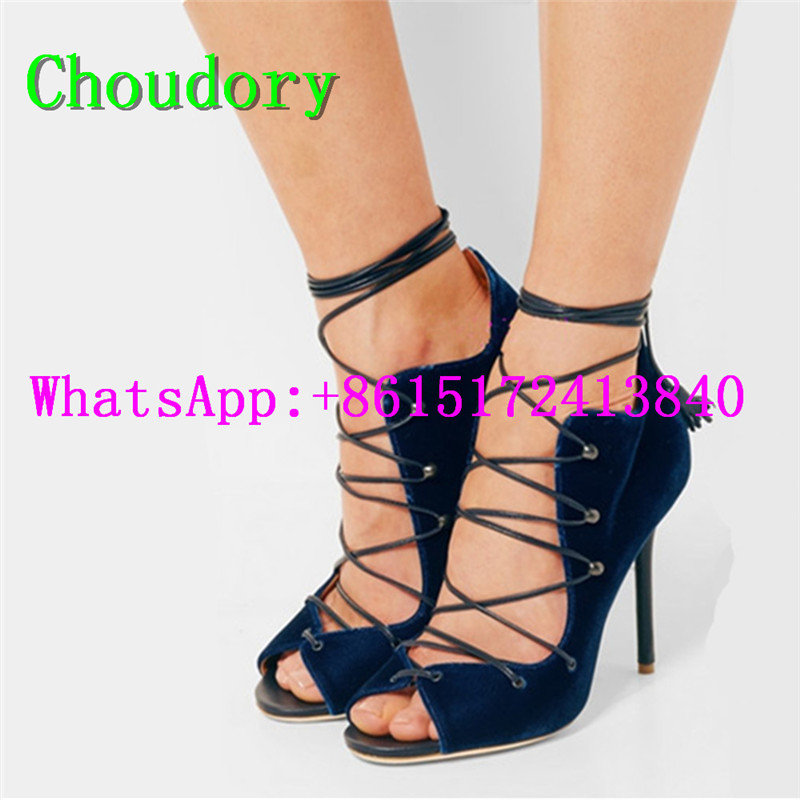 Choudory Ankle Strap Narrow Band Cross-Tied Sexy Dress Women Super High Heels Sandals Solid New Fashion Gladiator Shoes Women