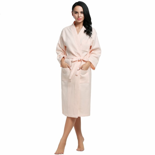 Chino Robes Camisón de Las Mujeres de Invierno de Manga Larga Bata De Toalla de Baño Albornoz 100% Algodón Waffle Albornoz ropa de Noche con Cinturón 4