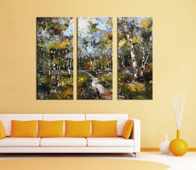 3 piece decorative art set modern wall art White Birch Wild forest ...