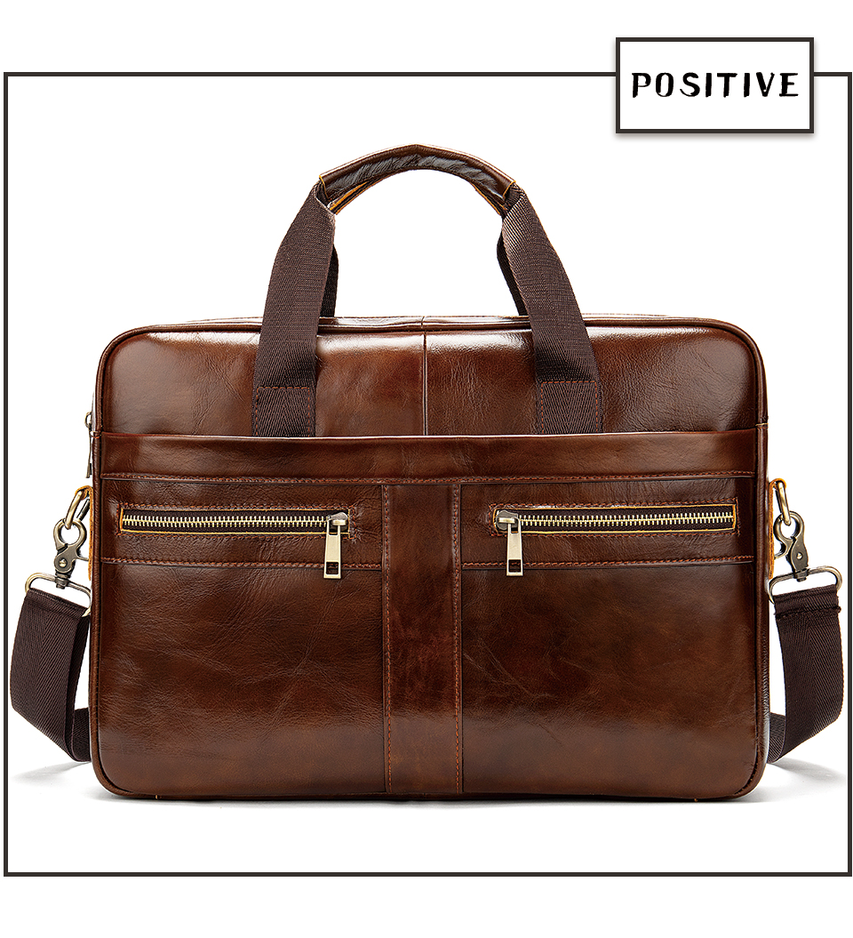 photo showing a genuine leather briefcase